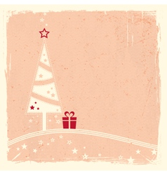 Christmas tree with present and stars vector image vector image