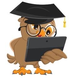 Owl teacher holds tablet computer vector image vector image