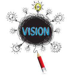 red pencil idea concept blue vision business vector image vector image