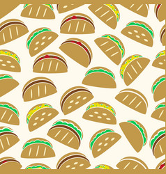 set of color tortilla tacos food icons seamless vector image