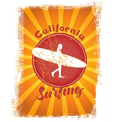 Surfing styled with sunshine at the background vector image