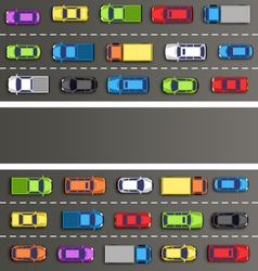 Traffic jam on the road with cars on gray vector image