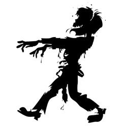 walking zombie silhouette vector image vector image