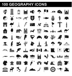 100 geography icons set simple style vector image vector image