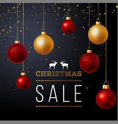 background with balls and christmas sale text vector image vector image
