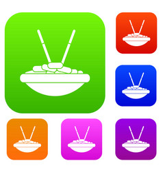 bowl of rice with chopsticks set collection vector image