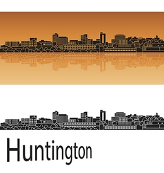 Huntington skyline in orange vector image vector image