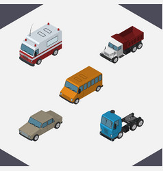 Isometric automobile set of truck auto first-aid vector