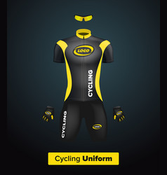realistic cycling uniform template black vector image vector image