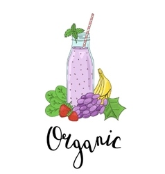 Bottle smoothies with fruits vegetables and the vector image