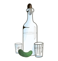 Bottle with vodka and cucumber vector image