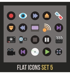Flat icons set 5 vector image vector image