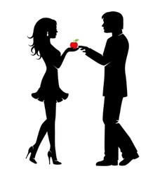 Man woman and the forbidden fruit vector image vector image