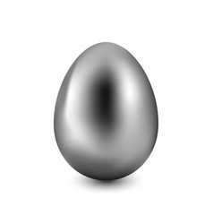 silver easter egg on a white background vector image vector image