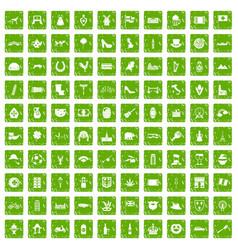 100 europe icons set grunge green vector image