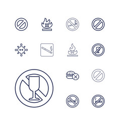 13 prohibition icons vector