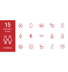 15 woman icons vector image