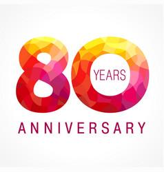80 anniversary red logo vector