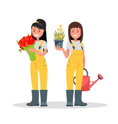 a couple of gardeners vector image