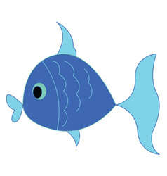 a small little blue fish is swimming under the vector image