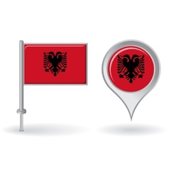 Albanian pin icon and map pointer flag vector