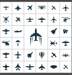 aviation icons universal set for web and ui vector image