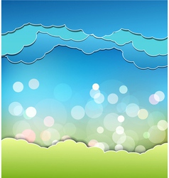 background with decoration sun blue sky and clouds vector image