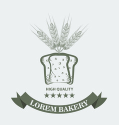 bakery logo with sliced fresh bread wheat ribbon vector image