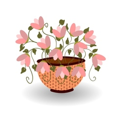 Basket with flowers for your design vector image