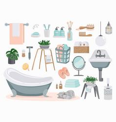 bathroom elements cartoon plumbing and toilet vector image