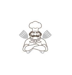 Black spatula chef logo vector