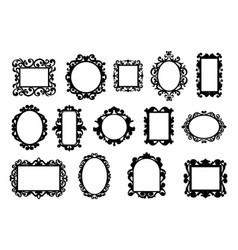 black vintage frames hand drawn silhouettes vector image