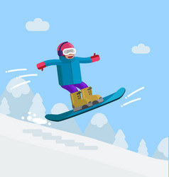 Boy on snowboard riding downhill vector