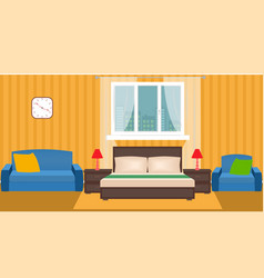 bright bedroom interior with furniture and window vector image