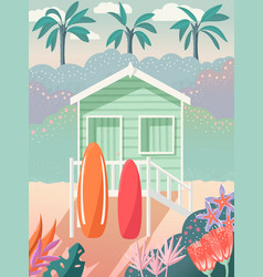bungalow on a beach with surfboards on deck vector image