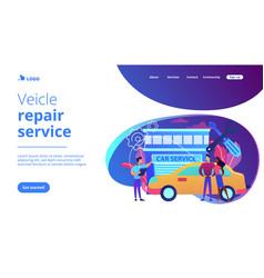 Car service concept landing page vector