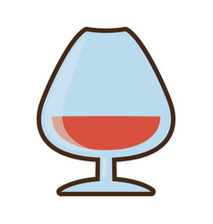 Cartoon cognac glass cup drink vector