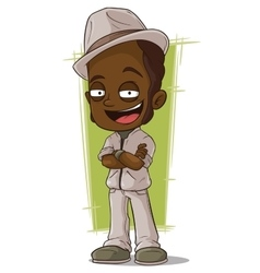 Cartoon smiling jazz man in hat vector image