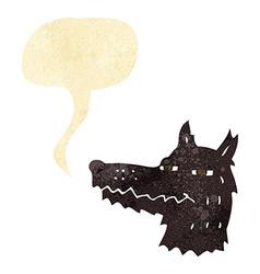 Cartoon smug wolf face with speech bubble vector