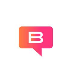 Chat logo on b letter concept letter b logo vector