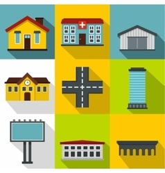 City public buildings icons set flat style vector