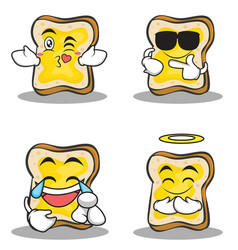 collection bread character cartoon set vector image