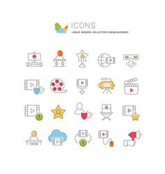 collection linear icons cinema business vector image