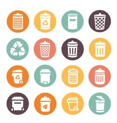 Colorful trash can icons on circular battons set vector image