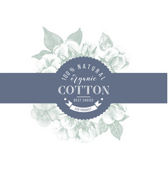 Cotton emblem over hand drawn cotton branches vector