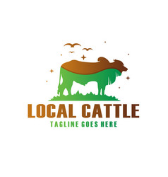 cow farm modern logo vector image