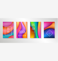 creative design posters set fluid colorful shapes vector image