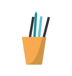 Cup pencils pens utensils working vector
