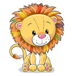 cute cartoon lion isolated on a white background vector image
