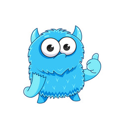 Cute cartoon monster with a thumbs-up sign vector